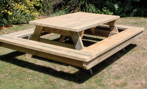 All round outdoor wooden seating, Kaiapoi Canterbury